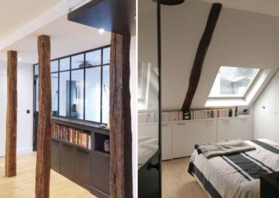 Restructuration complete d'un appartement au dernier etage sous toiture